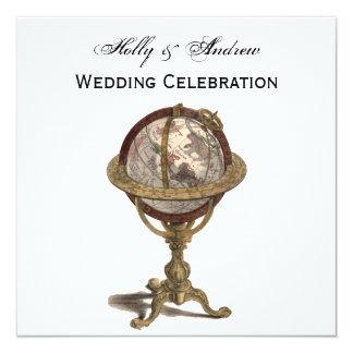 Antique Globe, White BG SQ Wedding Card