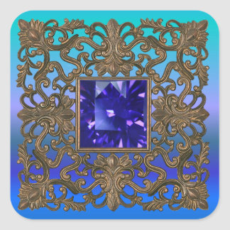 Antique Gold and Sapphire Square Sticker