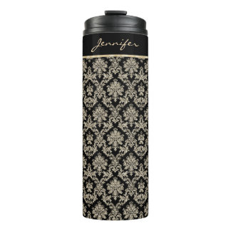 Antique Gold Damask Personalized Thermal Tumbler