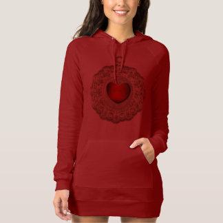 Antique Gold Floral Lace Doily FauxCharm Red Heart Tshirts