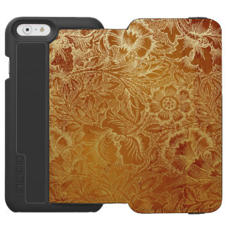 Antique Gold Floral Tooled Leather Look Incipio Watson™ iPhone 6 Wallet Case