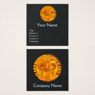 ANTIQUE GOLD FLORENTINE FORINT Black Paper Square Business Card