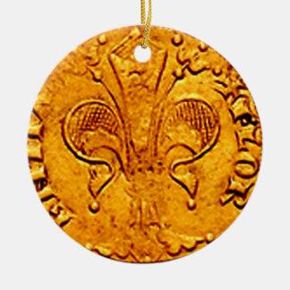 ANTIQUE GOLD FLORENTINE FORINT ROUND CERAMIC DECORATION