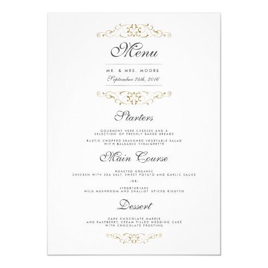 Antique Gold Flourish Wedding Dinner Menu Card