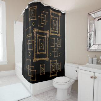 Antique gold mirror black shower curtain