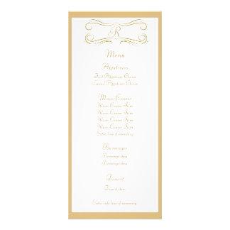 Antique Gold Monogram Wedding Menu