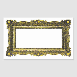 Antique Gold Picture Frame Rectangular Sticker