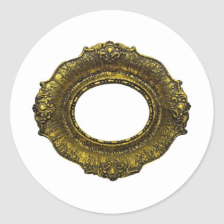 Antique Gold Picture Frame Round Stickers