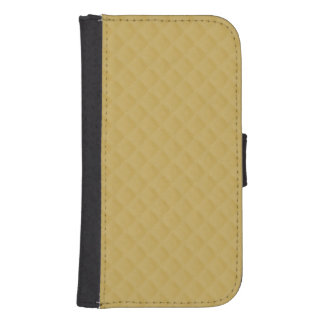 Antique Gold Stitched Quilt Pattern Galaxy S4 Wallet