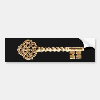 Antique Golden Gold Steampunk Skeleton Key Bumper Sticker