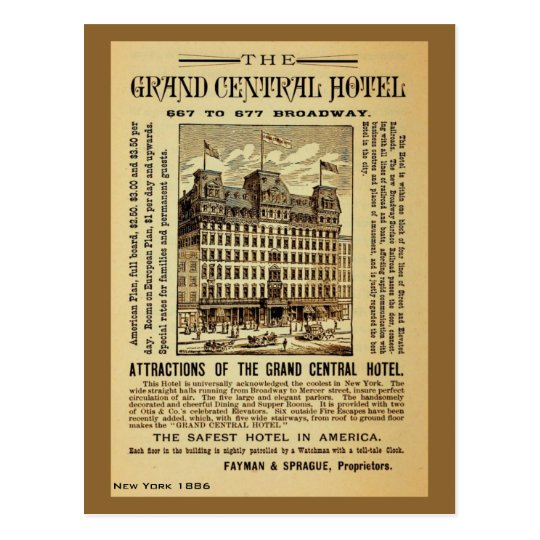 Antique Grand Central Hotel ad New York City