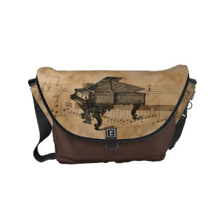Antique Grand Piano on Vintage Music Sheet Commuter Bags
