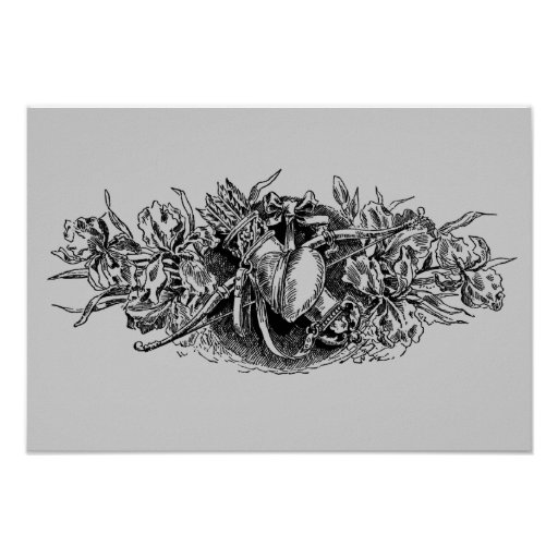 Antique Gray Floral Heart with Bow & Arrow Posters
