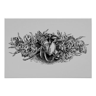 Antique Gray Floral Heart with Bow Arrow Posters