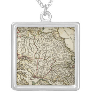 Antique Greek Map Silver Plated Necklace