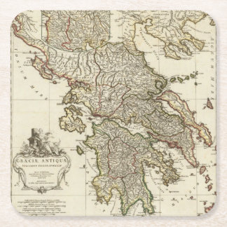 Antique Greek Map Square Paper Coaster