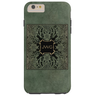 Antique Green Tooled Leather Monogram Book Cover