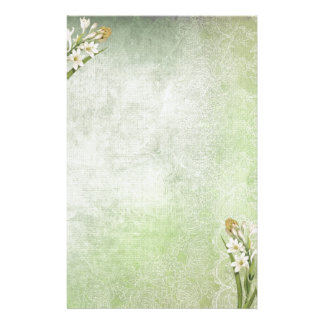 Antique Green with White Tuberoses Stationery