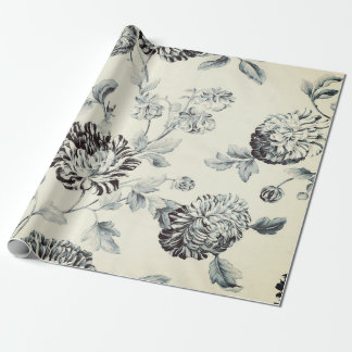 Antique Grey Vintage Botanical Floral Toile Wrapping Paper