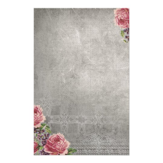 Antique Grey with Pink Roses Stationery