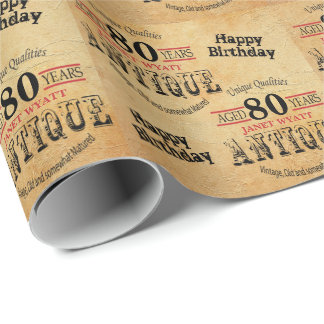 Antique Grunge Birthday | 80th Birthday Wrapping Paper