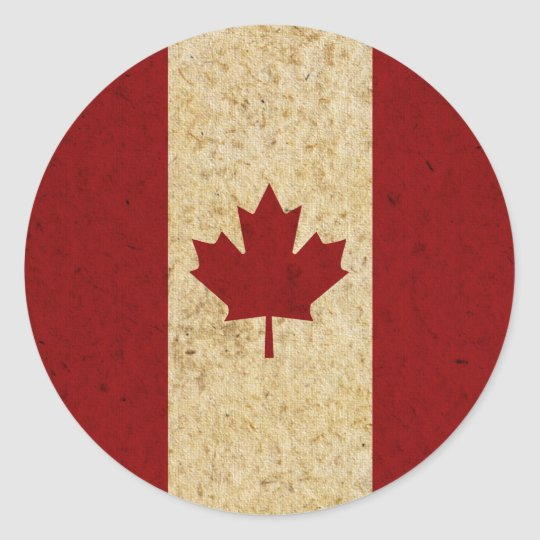 Antique Grunge Canadian Flag Classic Round Sticker