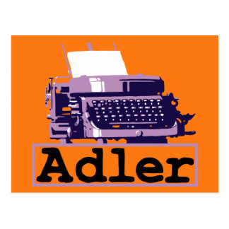 Antique grungy style typewriter ad postcard