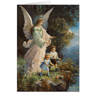 Antique Guardian Angel Card