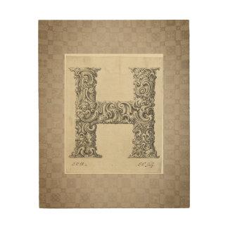 "Antique ""H"" Initial Wood Print"