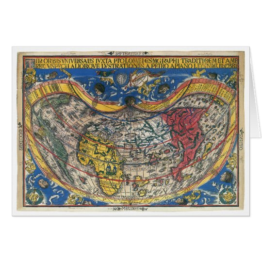 Antique Heart Shaped World Map by Peter Apian