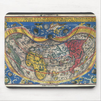 Antique Heart Shaped World Map by Peter Apian 1520 Mouse Mat