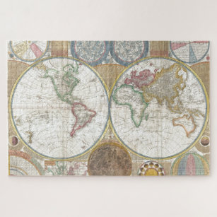 Antique Historical Old World Atlas Map Continents Jigsaw Puzzle