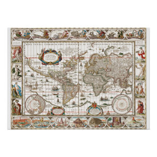 Antique Historical Old World Atlas Map Continents Poster