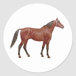 Antique Horses - Thoroughbred Round Sticker