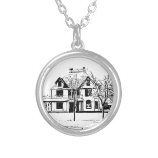 Antique House with Trees in Pen and Ink Personalized Necklace