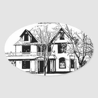 Antique House with Trees in Pen and Ink Oval Stickers