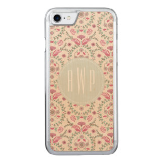 Antique Inspired Pink and green Monogram Carved iPhone 8/7 Case