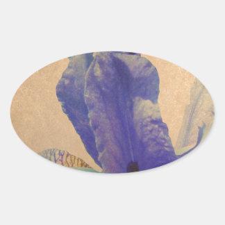 Antique Iris Oval Sticker