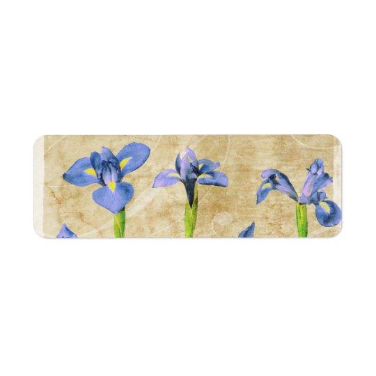Antique Irises - Vintage Iris Background Customise Return Address Label
