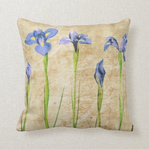 Antique Irises - Vintage Iris Background Customize Pillows