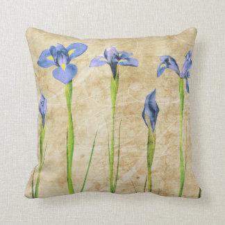 Antique Irises - Vintage Iris Background Customize Throw Cushion