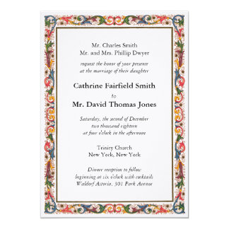 Antique Italian Flower Border Wedding Invitation