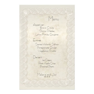 Antique Ivory Lace Floral Wedding Menu Stationery 14 Cm X 21.5 Cm Flyer