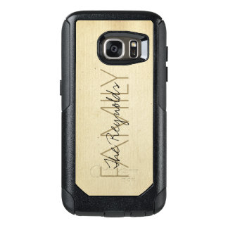 Antique Ivory Paper Texture Add Name OtterBox Samsung Galaxy S7 Case