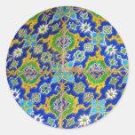 Antique Iznik Glaze Tiles  Ottoman Era Round Sticker