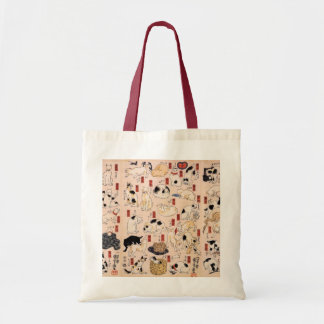 Antique Japanese Design Cats Tote Budget Tote Bag