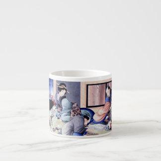 Antique Japanese Merchant and Geisha Watercolor Espresso Mug