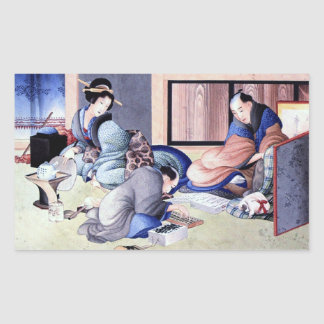 Antique Japanese Merchant and Geisha Watercolor Rectangular Sticker