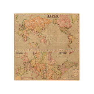 Antique Japanese World Map 1914 Wood Print