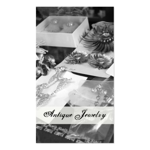Antique Jewelry Black and White Business Cards